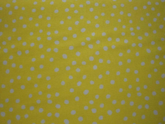White Polka Dots on Yellow B/G-Choice Fabrics-BTY
