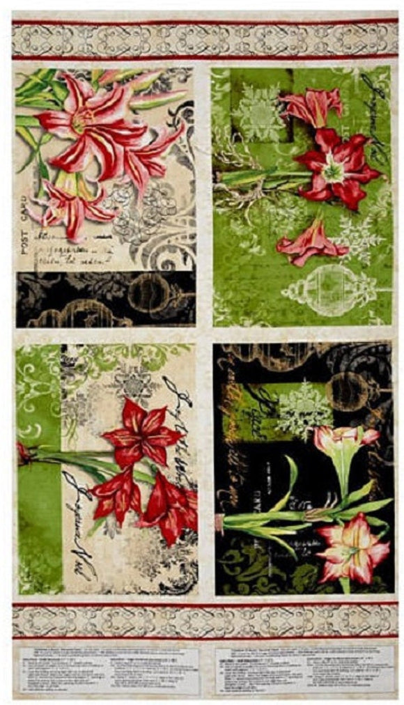 Christmas in Bloom Placemats Panel by Wilmington Prints