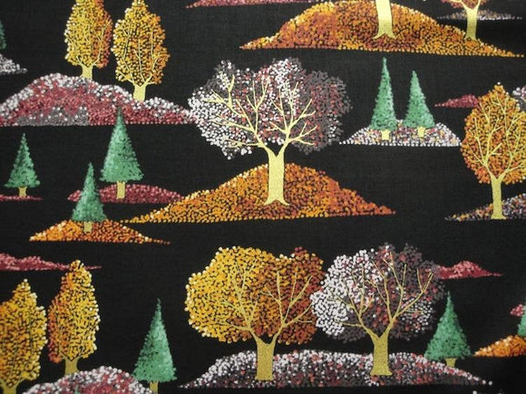 Fall Trees-Black B/G-Quilting Treasures-Fat Quarter
