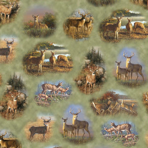 "Deer Valley ""Vignettes of Deer""-Quilting Treasures-BTY"