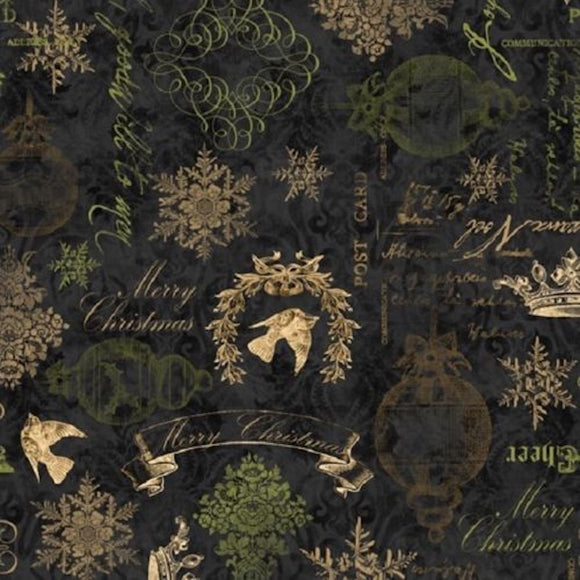 Christmas in Bloom on Black B/G-Wilmington Prints-Fat Quarter