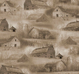 "Wild Pheasant ""Barns & Houses""-Quilting Treasures-Fat Quarter"