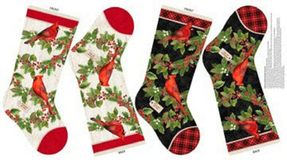 Cardinal Woods Stocking Panel by Northcott Fabrics
