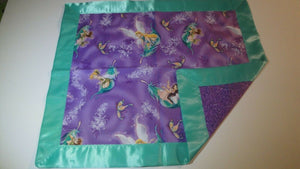 Fairies on Purple Backing Lovey w/Teal Satin Binding