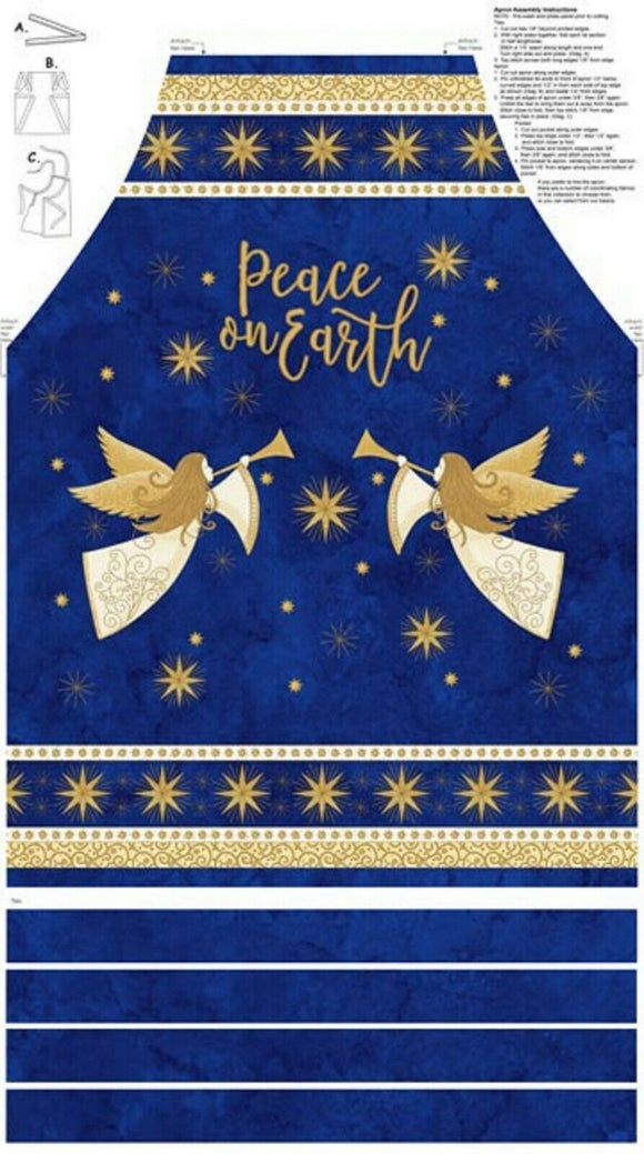 Angels Above Blue w/Gold Apron Panel by Northcott Fabrics
