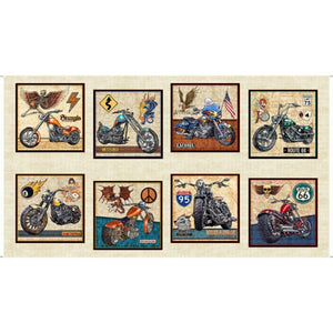 Easy Rider Motorcycle Patch Panel Cream B/G by Quilting Treasures