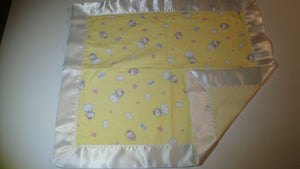 Kitty on Clouds Flannel Lovey w/White Satin Binding-Hello