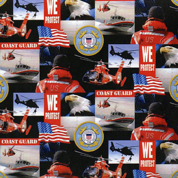 US Coast Guard Collage-Sykel Enterprises-Fat Quarter