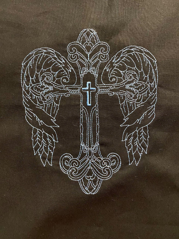 Blue Machine Embroidered Angel Cross on Black-#9