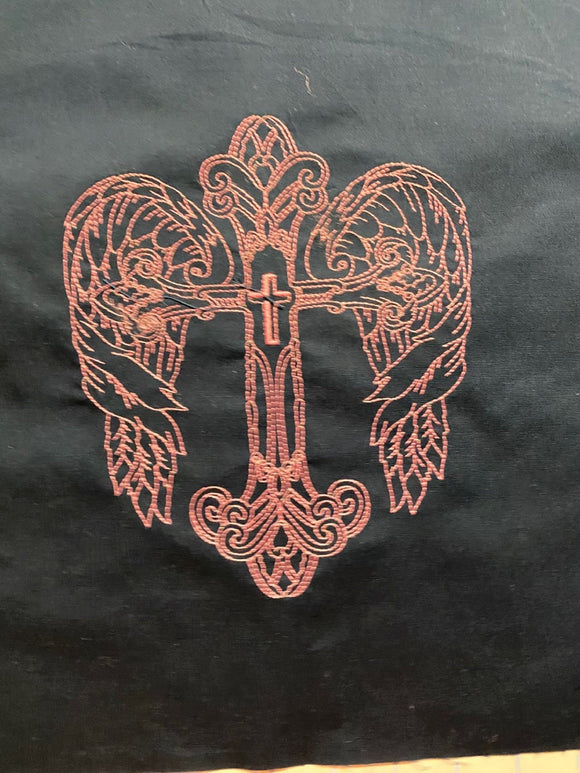 Pink Machine Embroidered Cross on Navy Fabric #1