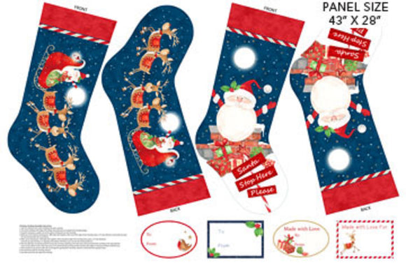 Santa Stop Here Christmas Stockings Panel by Northcott Fabrics