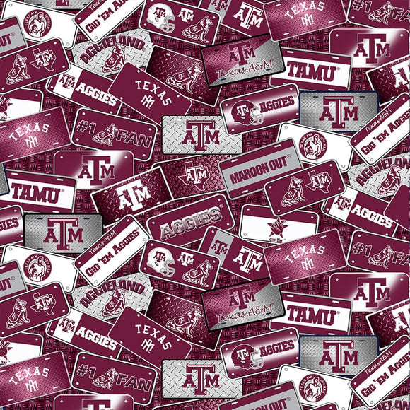 Texas A&M License Plates-Sykel Enterprises-Fat Quarter
