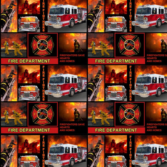 Firefighter Patchwork Blocks-Sykel Enterprises-Fat Quarter