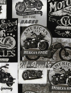Vintage Motorcycle Signs Black & White-Timeless Treasures-Fat Quarter