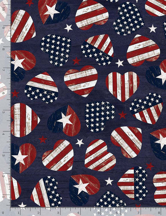 American Flag Hearts on Navy B/G-Timeless Treasures-BTY