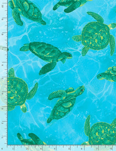 "Ocean ""Turtles""-Timeless Treasures-Fat Quarter"