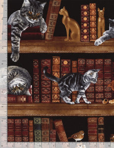 Playful Cats & Kittens in the Library-Timeless Treasures-Fat Quarter