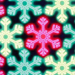 Multi-Colored Snowflakes Glowing on Black B/G-Kanvas Studios-Fat Quarter
