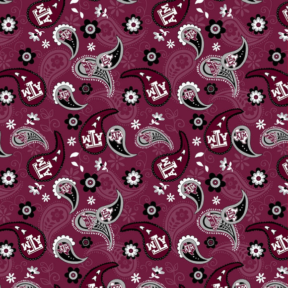 Texas A&M Bandana Paisley-Sykel Enterprises-Fat Quarter