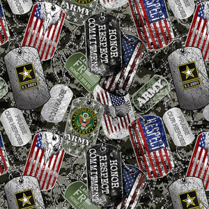 "Military Dog Tags ""Army""-Sykel Enterprises-Fat Quarter"