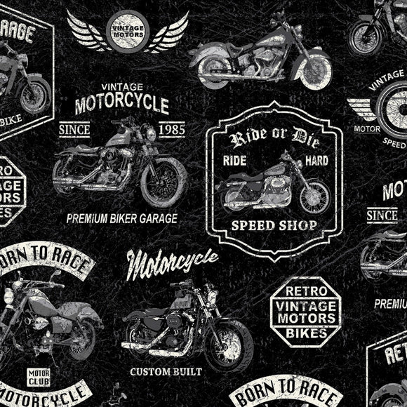 Born to Ride-Black B/G-Windham Fabrics-Fat Quarter