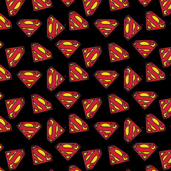 Superman Logo on Black B/G-Camelot Fabrics-Fat Quarter