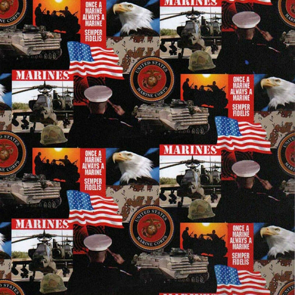 United States Marine Corps Collage-Sykel Enterprises-Fat Quarter