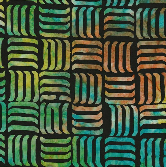Rainbow Lines on Black B/G-#5521-Batik Textiles-Fat Quarter