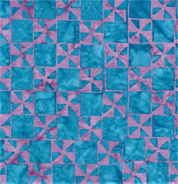 Blue Squares on Lavender B/G-#4941-Batik Textiles-Fat Quarter