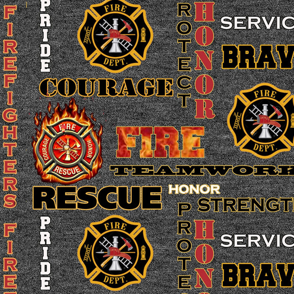 Firefighters Logo and Words on Black Heather B/G-Sykel Enterprises-Fat Quarter