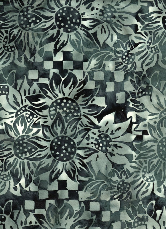 Black & White Sunflowers-#4347-Batik Textiles-BTY
