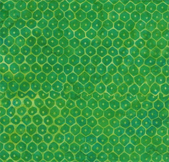 Green Tonal Hexagons and Dots-#5553-Batik Textiles-Fat Quarter