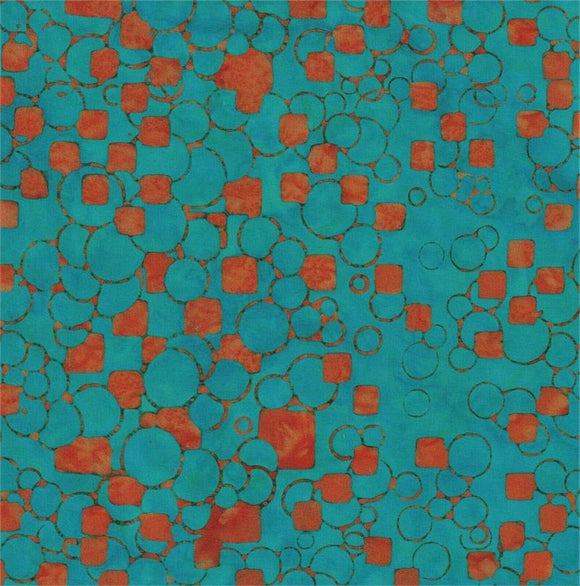 Orange Squares & Circles on Blue B/G-#5534-Batik Textiles-Fat Quarter