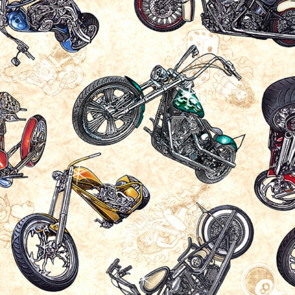 Easy Rider Motorcycles on Cream B/G-Quilting Treasures-Fat Quarter