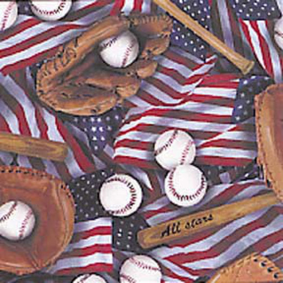 American Baseball Collage-Elizabeth Studios-Fat Quarter