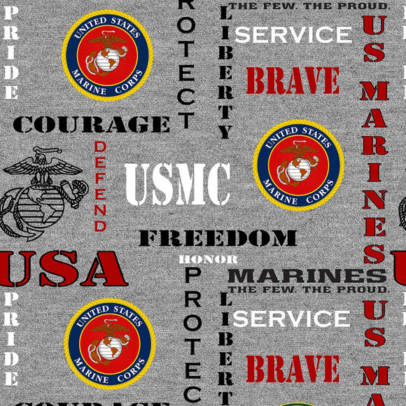 Marines Logo & Words on Heather Gray B/G-Sykel Enterprises-Fat Quarter