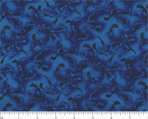 "Black Leaves on Royal Blue B/G-108"" Wide-Choice Fabrics-BTY"