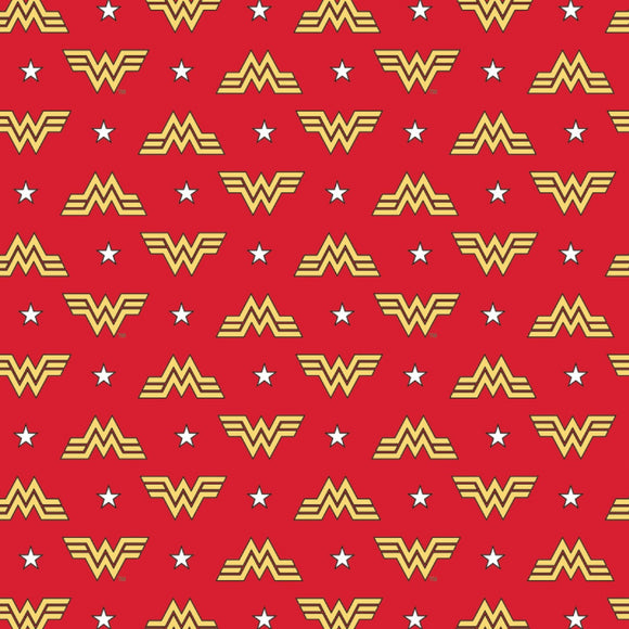 Wonder Woman Logo on Red B/G-Camelot Cottons-Flannel Fat Quarter