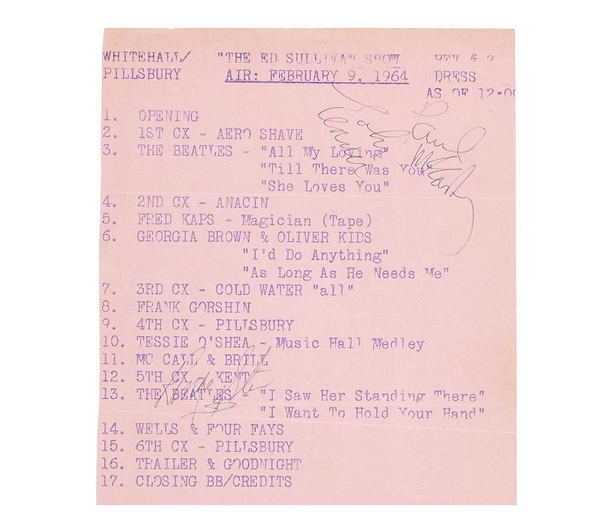 Beatles signed Ed Sullivan Show call sheet sold at Heritage Auctions
