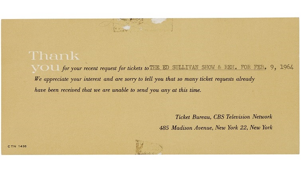 Beatles ed sullivan show ticket rejection slip sold at Heritage Auctions