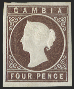 GAMBIA 1869-72 4d brown (deep shade), SG1