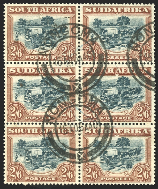 South Africa green and brown stamp