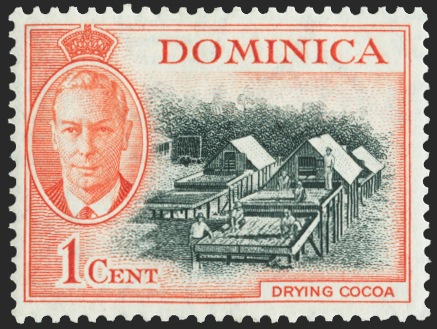 DOMINICA 1951 1c black and vermilion error, SG121c