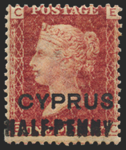 CYPRUS 1881 'HALF-PENNY' on 1d red, plate 174, SG7
