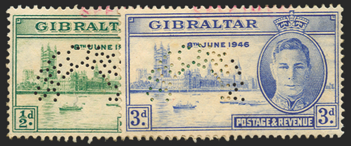 GIBRALTAR 1946 Victory ½d and 3d Specimens, SG132s/3s