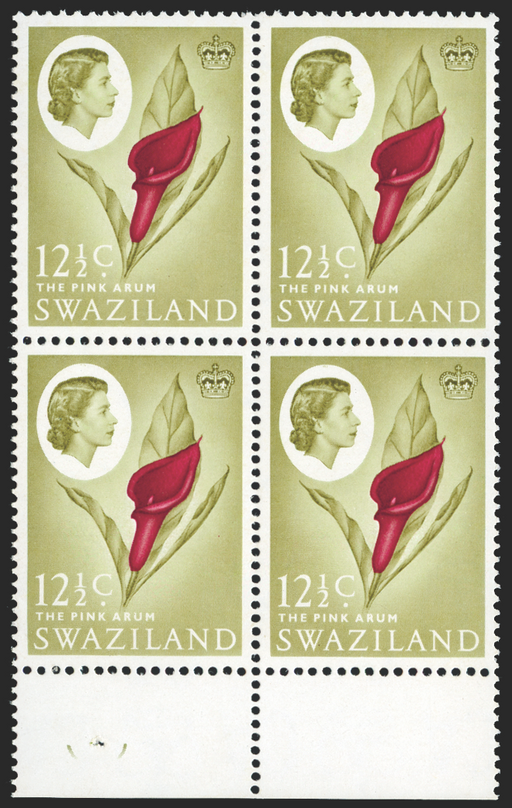 Swaziland carmine and grey olive stamp