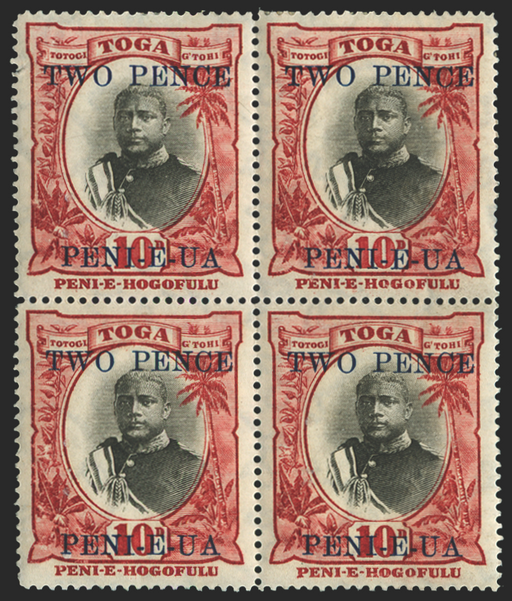 Tonga black and lake stamp