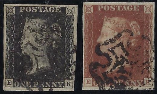 Great Britain 1840 1d Greyish black Plate 11 &1841 1d Red-brown Plate 11. SG3/7