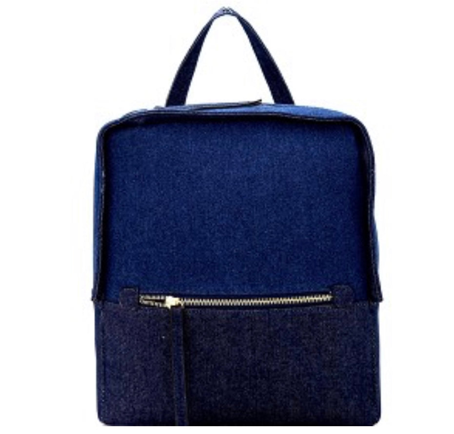 Two-Tone Denim Boxy Backpack