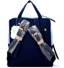 Load image into Gallery viewer, Two-Tone Denim Boxy Backpack
